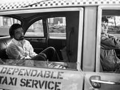 Martin Scorsese and Robert De Niro on the set of Taxi Driver.