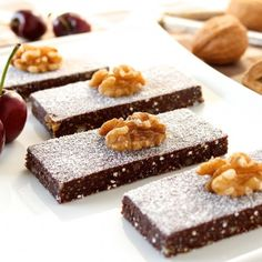 No-bake Chocolate Walnut Cherry Bars use coconut and dates for sweetness; chia seeds for antioxidant goodness. HealthyAperture.com