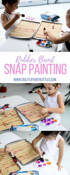 Rubber Band Snap Painting, toddler painting, washable paints, finger painting, splatter art work for kids