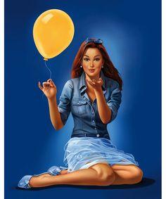"""Illustrator Stefano Riboli  012 - Baci Perugina """"Bacine""""  Illustration made for Baci Perugina , character named """"Ironic girl""""     Published on: Baci Perugina Packaging, Web"""