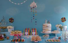 """""""wrap me in rainbows"""" party tablescape."""