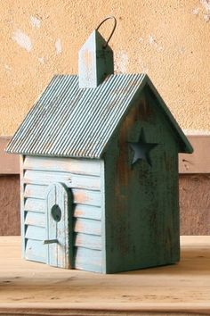 Industrial Home and Holiday Decor  Vintage Blue Chapel Bird House