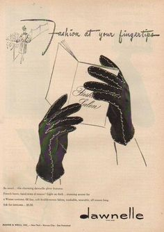 1940s Dawnelle Women's Winter Gloves Ad. #vintage #1940s #gloves #ads