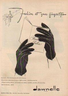 1940s Dawnelle Women's Winter Gloves Ad. #vintage #1940s #gloves #ads