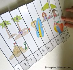 Printable Preschool Beach Theme Number Puzzle from Preschool Powol Packets at B-InspiredMama.com