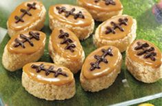 Kellogg's® Rice Krispies Treats® bars dipped in caramel and decorated with chocolate in honor of the Big Game.