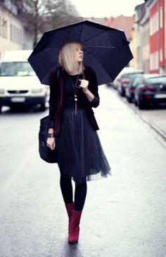 Rainy days... tulle skirt.