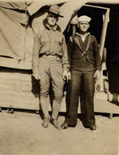 Earl Sims and Eustace Rowley in Army and Navy uniforms during World War I, 1918. San Fernando Valley History Digital Library.