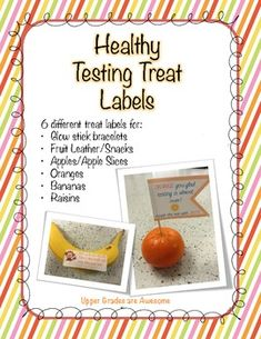 yes please 6 different *HEALTHY* treats to encourage your students during testing week!