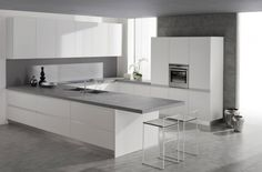 Bucatarii italiene (4) white kitchen cabinets, kitchen countertops, grey kitchens, bar stools, modern kitchens, white cabinets, kitchen islands, kitchen designs, white kitchens