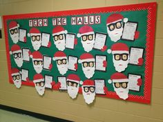 """Students designed Santa's holding Ipads for this cute """"Tech the Halls"""" Christmas bulletin board display.  Students wrote what they wanted for Christmas inside their Ipads."""