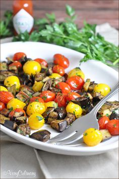 Spicy Roasted Eggplant and Cherry Tomatoes
