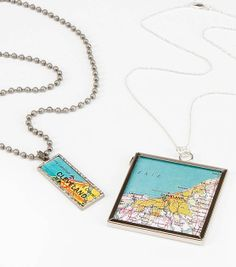 Use a map of your favorite city to make a trendy necklace!