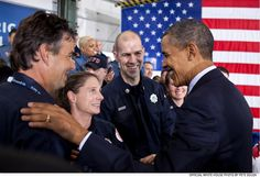 Feb. 3, 2012: President Obama after speaking on the Veterans Job Corps at Fire Station #5 in Arlington, Virginia.