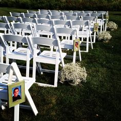 Pictures of the bride and groom lined the aisle!