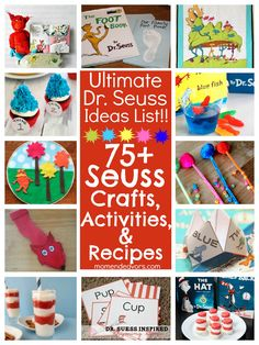 This pin was seen on Pinterest/islandmomsteph. Now this is a mom with great strategies for really cool parties. She also suggests you use these ideas to create Cousin Camps! She has created a few boards collecting ideas for special themes. (This pin: Ultimate Dr. Seuss Ideas List! 75+ Dr. Seuss Crafts, Activities, & Fun Food Ideas via momendeavors.com! #drseuss #seuss)