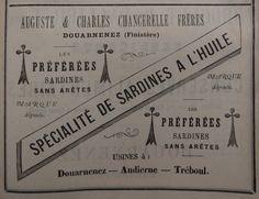 Douarnenez. Publicité Auguste et Charles Chancerelle frères, spécialité de sardines à l'huile. 1882.