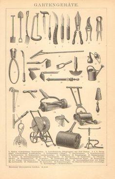 vintage gardening tools print