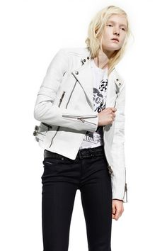 Diesel Black Gold Resort 2015 white leather biker jacket