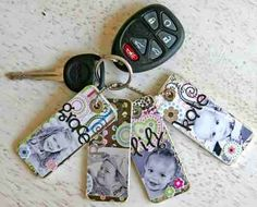 DIY Keychain Craft!! Just cut a old card to fit the size you like, take scrap booking paper and glue it on it. Then put on pictures, stickers, etc. finally  add a coat of hodge podge.