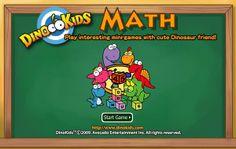 """Con """"Dinokids Math"""" jugamos a completar los sumandos de la suma, por lo que se requiere agilidad mental, con contador de puntos y de tiempo. Tiene tres niveles de dificultad, por lo que es adecuado para 6 años, pero también para 7 y 8. El grafismo lo puede hacer más atractivo para los niños que otros juegos. Cuando salga la pantalla de dibujos.net, pulsar abajo a la izquierda """"CONTINUE""""."""