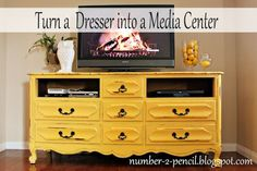 This bright yellow dresser converts to a shabby chic media center!