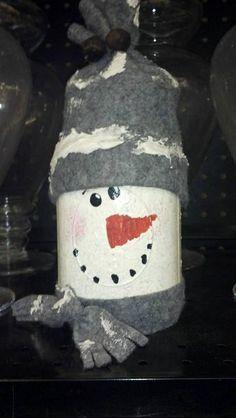 Snowman out of a Mason Jar