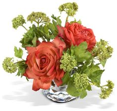 Romantic arrangement of full-bloom Roses & budding  Viburnum
