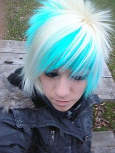 Short White Blue emo hairstyle