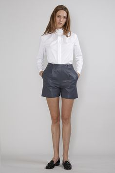 shirt and leather shorts & loafers