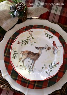 Plaid Tidings, Home is Where the Boat Is table settings, challenges, christmas china, boats, plate, gardens, plaid christmas table, birds, deer