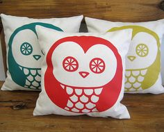 Handmade Pillow Cover OWL · 13 x 13 in · Screenprinted cotton ·  Decorative pillow · Throw pillow · Accent pillow · Insert NOT included on Etsy, $26.00