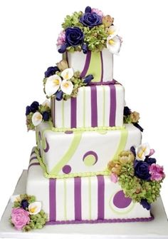 Purple Wedding Cakes | green & purple wedding cake! I could do without the green and purple fondant, though.
