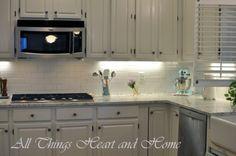 light kitchen white galaxy granite subway tile backsplash