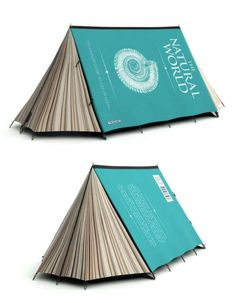 A tent that looks like a book.