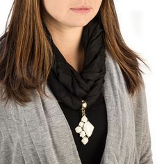 Ivory Epoxy Mosaic Scarf Jewelry Gold | Scarf Jewelry, Cheap Fashion Jewelry | Purple Box Jewelry