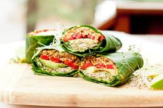 #Raw #Vegan Collard Wraps from Avocado Pesto