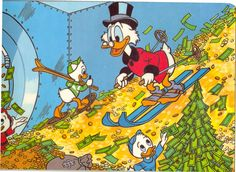 Scrooge McDuck skiing on his money