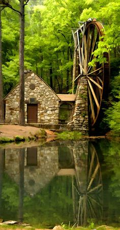 The Old Mill Waterwheel at Berry College in Rome, Georgia