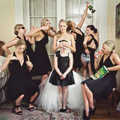 """25. Don't Corrupt the Flower Girl   This viral sensation, dubbed """"Don't Corrupt the Flower Girl,"""" is a clever take on classic bridesmaid hijinks. Now you don't have to feel quite so guilty for adjusting that pesky, strapless bra or swigging champagne in front of the little angel— it's all for a photo op."""