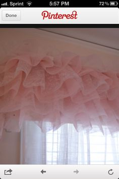 Girls room. Love this looks for a valance to cover the ugly plain look of room darkening curtains!