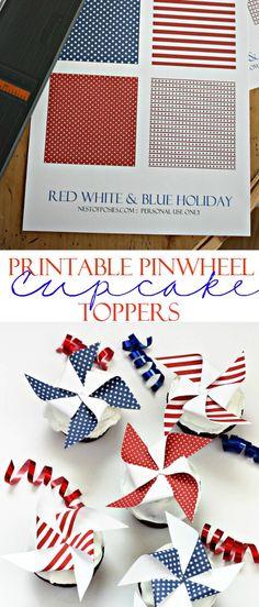 Printable Pinwheel Cupcake Toppers!  Made in minutes!