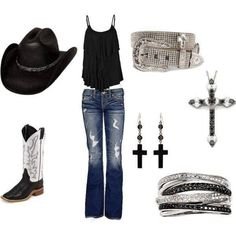 concert outfits, country girl;), country girls, belt, country girl hats, country girl styles, boots, black, country outfits