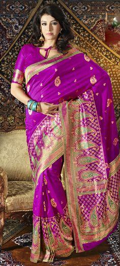USD 85.09 Pink Silk Party Wear Saree 28924
