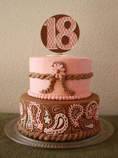 Western pink & brown cake