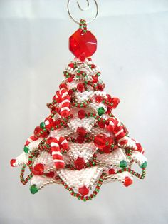 Candy Cane Christmas Tree Beaded Ornament by ChristmasCreation pattern by Paula Adams