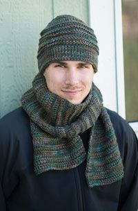 Mountain Trail Hat and Scarf Digital Crochet Pattern from Love of Crochet's Holiday Crochet 2014 Issue - A rugged set worked in Tunisian crochet