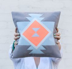 Geometric Tribal Pillow Grey, Hot Coral, and Mint Stripes // brightjuly.etsy.com // $55.00