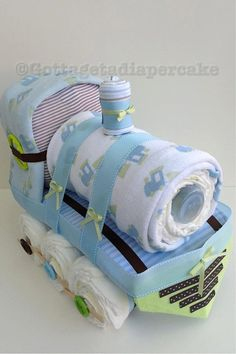 Brown and green diaper train,