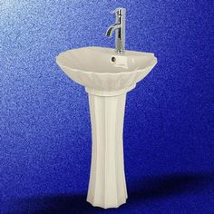 Seashell Pedestal Sink : Pedestal Sinks: Bone China Shell Pedestal Sink 30 1/2 H x 20 W